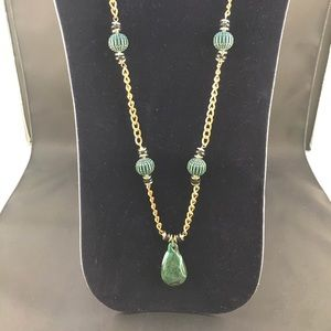 Vintage gold chain necklace with green beads